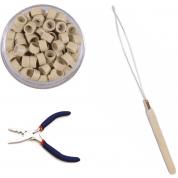 Microring Complete Set - (Inzettang + Microringen Blond 100Stuks + Microring Loop)